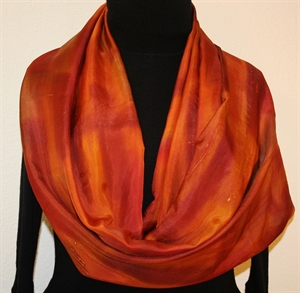 Orange, Terracotta Hand Painted Silk Shawl, Handmade Scarf BRONZE MIST. Large 14x72. Silk Scarves Colorado. Birthday Gift, Bridesmaid Gift