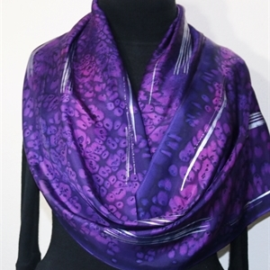 Purple Silk Scarf Handpainted. Handmade Silk Shawl PURPLE FIREWORKS, by Silk Scarves Colorado. Large 14x72. Birthday Gift, Bridesmaid Gift, Anniversar