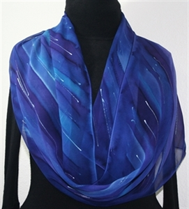 Purple, Blue Hand Painted Silk Scarf PURPLE SKIES, by Silk Scarves Colorado. Large 14x72. Birthday Gift, Bridesmaid Gift, Anniversary Gift, Mother Gif