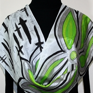 Hand Painted Silk Scarf. Lime, Black, Silver Silk Scarf LIME WINDS. Size11x60. Birthday Gift, Bridesmaid Gift, Mother Gift. Gift-Wrapped.
