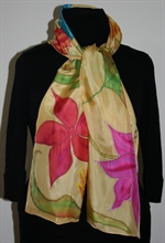 Silk Shawl with Tropical Flowers