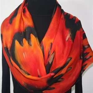 Red Orange Black Hand Dyed Silk Scarf FLOWING LAVA, Size Large 14x72