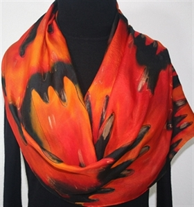 Red Orange Black Hand Dyed Silk Scarf FLOWING LAVA - Select Your SIZE