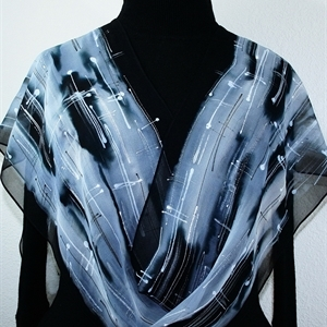 Black, White & Silver Grey Handmade Chiffon Silk Scarf SALT AND PEPPER. Size 14x72. Birthday Gift.