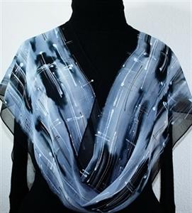 Black, White & Silver Grey Handmade Chiffon Silk Scarf SALT AND PEPPER. Size 14x72. Birthday Gift.