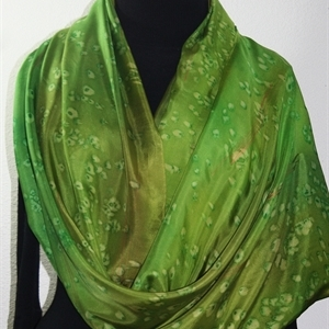 Green Hand Painted Silk Shawl SHADY FOREST, size Luxurious Big 35x84