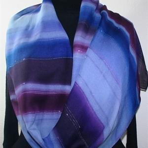 Hand Painted Silk Wool Scarf. Purple, Plum Handmade Silk-Wool Scarf PURPLE BERRIES. Silk Scarves Colorado. Large 14x68. Birthday Gift.