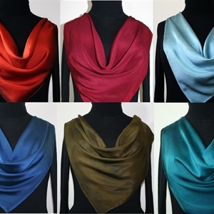 Silk Scarf Monochromatic Hand Painted Bandanna Shawl SELECT YOUR COLOR, by Silk Scarves Colorado. Square 25x25 inches