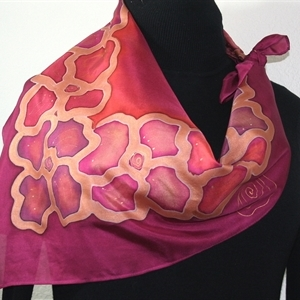 "Custom Size 30x30"" - Burgundy, Terracotta Red Hand Painted Silk Scarf TUSCANY FLOWERS"