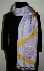 Light Violet Silk Shawl with Crocuses