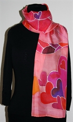 Light Red Silk Scarf with Lots of Hearts