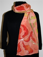 Light Brick Silk Scarf with Stylized Flowers and Leaves