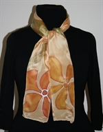 Golden Silk Scarf with Copper Flowers and Long Leaves