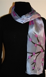 Silk Scarf with Abstract Lansdscape in Three Hues of Violet