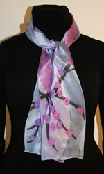 Silk Scarf with Abstract Lansdscape in Three Hues of Violet - photo 2