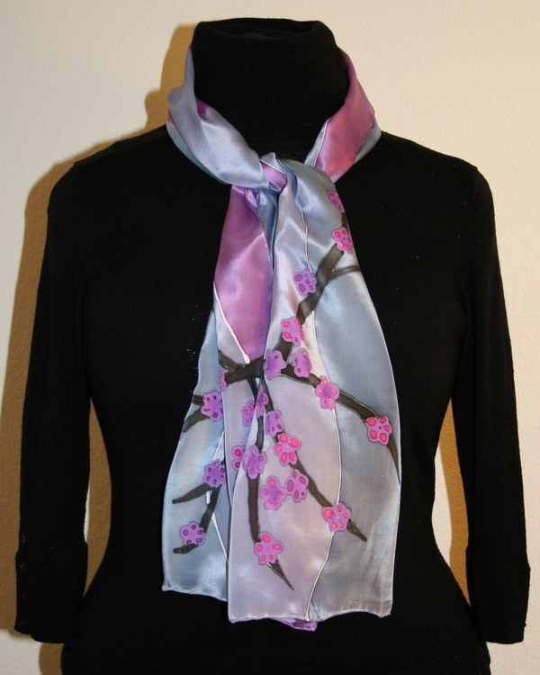 Silk Scarves Gumtree: Abstract Landscapes And Trees Hand Painted On Silk Scarves