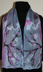 Silk Scarf with Abstract Lansdscape in Three Hues of Violet - photo 3