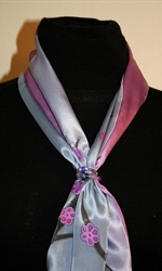 Silk Scarf with Abstract Lansdscape in Three Hues of Violet - photo 4