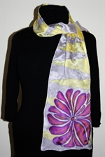 Pale Yellow and Pale Lilac Silk Scarf with Ornamental Flowers