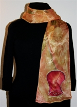 Silk Scarf with Two Large Rose Buds