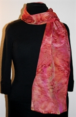 Silk Scarf with Multicolor Splash in Red, Burgundy and Orange