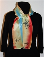 Silk Scarf with Abstract Landscape with River and Trees