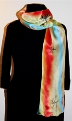 Silk Scarf with Abstract Landscape with River and Trees - photo 2