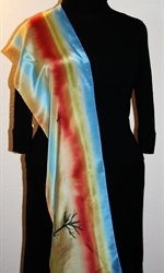 Silk Scarf with Abstract Landscape with River and Trees - photo 4