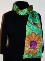 Green Silk Scarf with a Sunflower and Other Flowers