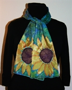 Blue and Green Silk Scarf with Two Sunflowers