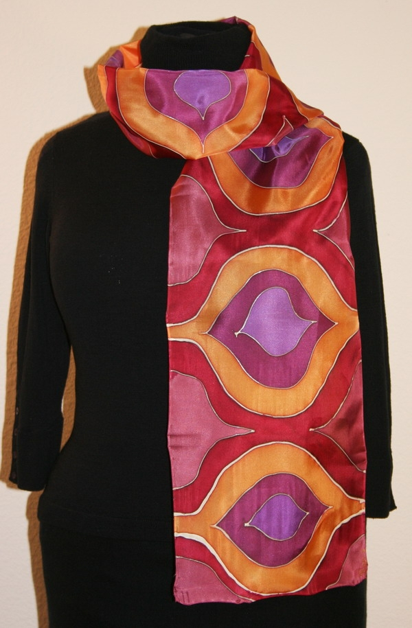 unique painted silk scarves and shawls featuring