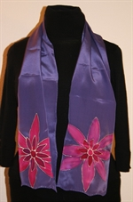 Violet Silk Scarf with Two Fuchsia Flowers