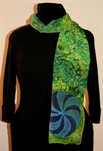 Bright Green Silk Scarf with a Blue Swirl