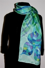 Light Green Silk Scarf with a Mosaic Flower