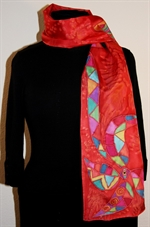 Bright Red Silk Scarf with a Multicolored Geometric Flower and a Butterfly