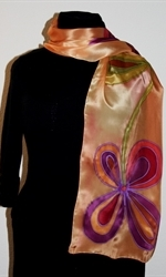 Golden Silk Scarf with Two Big Stylized Flowers - photo 1
