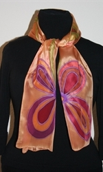 Golden Silk Scarf with Two Big Stylized Flowers - photo 2
