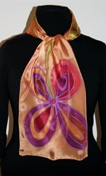 Golden Silk Scarf with Two Big Stylized Flowers - photo 3