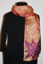 Brick-Colored Silk Scarf with a Geometric Flower