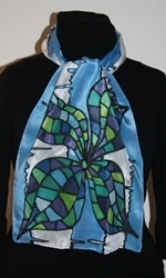 Blue-and-White Silk Scarf with Two Mosaic Flowers - photo 1