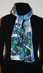 Blue-and-White Silk Scarf with Two Mosaic Flowers - photo 2