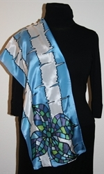 Blue-and-White Silk Scarf with Two Mosaic Flowers - photo 4