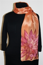 Silk Scarf in Dark Brick with Two Big Burgundy Flowers