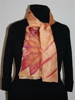 Plaid-Like Yellow Silk Scarf with a Burgundy Flower