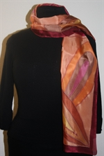 Burgundy-and-Beige Silk Scarf with Big Decorative Leaves and Flower