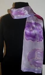 Light Violet Silk Scarf with Flowers in Hues of Pink and Lilac -photo 1
