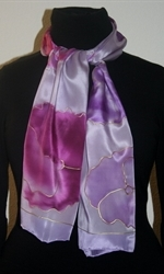 Light Violet Silk Scarf with Flowers in Hues of Pink and Lilac -photo 3