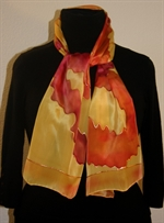 Yellow Silk Scarf with Figures in Red, Orange, Burgundy and Brown