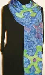 Royal Blue Silk Scarf with Big Stylized Figures in Hues of Green and Blue - photo 2