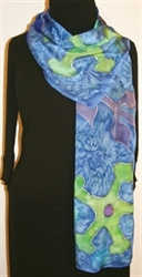 Royal Blue Silk Scarf with Big Stylized Figures in Hues of Green and Blue